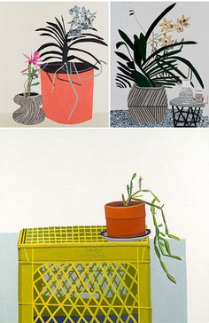 Los Angeles based artist Jonas Wood and his painted potted plants