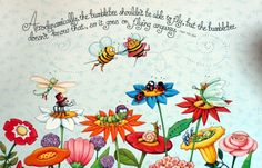Mary Engelbreit is known for her distinctive illustrations, featured on best-selling calendars, children's books, greeting cards, figurines and more! Mary Engelbreit, 3d Animation Wallpaper, Pintura Country, Bee Happy, It Goes On, May Flowers, April Showers, Bees Knees, Illustrations