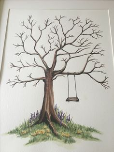 My hand painted wedding guest tree for my own wedding. I painted this in watercolour for my guests to finger print. #alluniqueweddings.co.uk for more of my unique wedding crafts