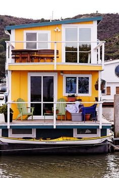 Houseboat with Sea Kayak, Richmond, CA Not really sailing..but I could live here.
