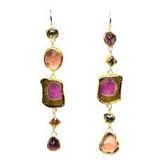 Gemstone earrings XL  Handmade by Nadine Kieft Jewelry Amsterdam www.nadinekieft.com