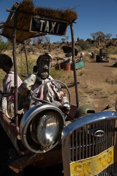 Southern Namibia The comical scarecrows at quiver tree forest at Garas Park are made by the locals out of scrap metal. Scarecrows, Quiver, Tree Forest, The Locals, Monster Trucks, Southern, Scrap, Park, Metal