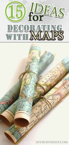 Vintage Decor Ideas 15 Ideas for Decorating with Maps - Maps, Atlases, the old and the new, the folding and those big rolls, a phenomenal decorative material for interior use. Map Crafts, Diy And Crafts, Arts And Crafts, Crafts With Maps, Diy Crafts For Bedroom, Travel Crafts, Vintage Home Decor, Diy Home Decor, Vintage Furniture
