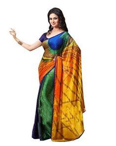 Buy Sareestudio Multi Colour Casual Wear Peacock Print Sari Indian ...
