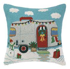 Holiday Trailer Hook Wool Throw Pillow