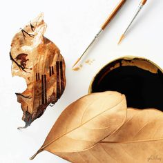 Artist paints stunning leaf art from leftover coffee grinds and stains