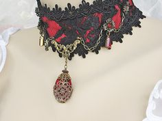 Red and Black Lace Victorian Choker, Lace Gothic Lolita Choker, Burlesque Choker, Gothic Wedding Jewelry.