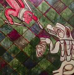 Monster Hunter - Heiltsuk story. Acrylic on Canvasboard. Collection of the artist