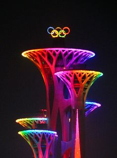 #RIO2016 Beijing Olympic Tower lights up the Olympic Rings to cheer for the opening of Rio de Janeiro 2016 Olympic Games on August 5 2016 in Beijing China
