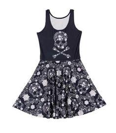 Women pleated Dress big skulls printed dress Sleeveless pleated dress slim dress