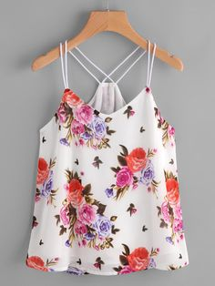 SheIn offers Calico Print Cami Top & more to fit your fashionable needs. Cute Casual Outfits, Summer Outfits, Fashion Clothes, Fashion Outfits, Fashion Women, Pakistani Dress Design, Sleeveless Crop Top, Cami Tops, Blouses For Women