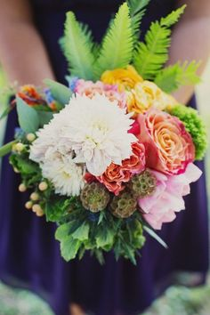 Mixed floral wedding bouquet | See the wedding on #SMP: http://www.stylemepretty.com/little-black-book-blog/2013/03/05/charleston-wedding-from-ooh-events-and-hyer-images | Hyer Images