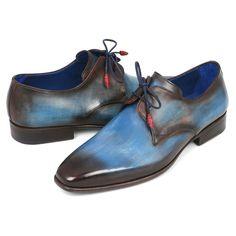 Paul Parkman Men's Blue & Brown Derby Shoes (ID#326-BLU) #mensdressshoes #dressshoes #shoes #mensfashion #socks #laces #handmade #bestshoes #luxuryshoes #businessshoes #formalshoes #exoticshoes #leathershoes #luxury #luxurylifestyle