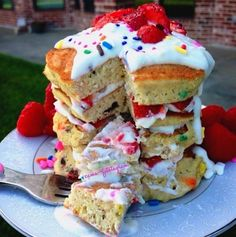 Funfetti Pancakes! Jerrad makes these every sunday morning for us!