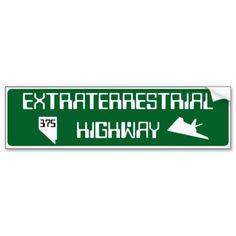 Route 375 Extraterrestrial Highway Bumper Sticker #Route375 #ExtraterrestrialHighway #Nevada #Sticker