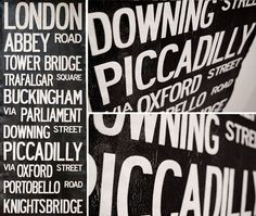 LONDON BUS scroll. Make 1 like this of the places, addresses, and neighborhoods from our family's past