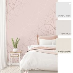 I Love Wallpaper Zara Shimmer Metallic Wallpaper Soft Pink Rose Gold - Wallpaper from I Love Wallpaper UK Pink Wallpaper Bedroom, Pink And Gold Wallpaper, Wallpaper Uk, Geometric Wallpaper, Girl Bedroom Designs, Bedroom Color Schemes, Awesome Bedrooms, New Room, Girl Room
