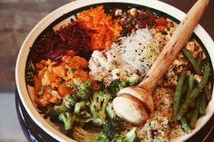 Super Food Salad: brocoli, sweet potato, beets, hummus, quinoa