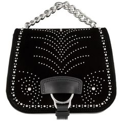 Miu Miu Dahlia Studded Crossbody Bag Nero in silver, black, Shoulder... ($1,380) ❤ liked on Polyvore featuring bags, handbags, shoulder bags, man shoulder bag, crossbody purses, studded crossbody, evening handbags and man bag