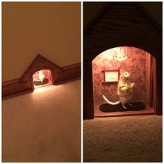 Mouse hole night light built into the baseboard.