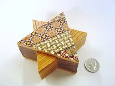 Japanese Puzzle box (Himitsu bako)- 4.3inch Open by 5steps- STAR shape $58