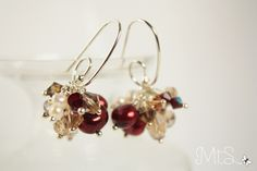 Mini Fireworks Earrings in Red + Champagne by Moments That Shine <3 Silver findings, freshwater pearls, Swarovski + Chinese crystals. Visit www.momentsthatshine.com/blog for contact info. #earrings #bling