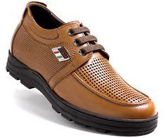 Brown Leather Elevator Sandals Men Shoes 60mm