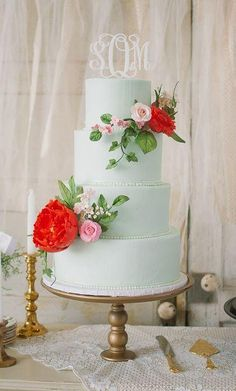 Image result for mint and coral wedding cakes