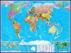 Карты.ру - Магазин карт. Купить карту мира, России или Москвы в нашем интернет-магазине. Изготовление карт. Политические и физические карты. Самые свежие карты - купить. || Мир политический (средний)