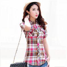 2017 New Summer Women Short Sleeve Plaid Shirts Cotton Tees Female Turn-Down Collar Splice Pockets Korean Shirts Casual QZ506