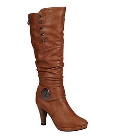 Love this Brown Button Sandra Boot by Reneeze on #zulily! #zulilyfinds