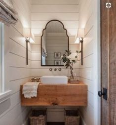 This would be lovely in a tiny house.Farmhouse Bathroom with shiplap walls, floating wood slab vanity and Roman shades. Farmhouse Bathroom with shiplap walls, floating wood slab vanity and Roman shades Wright Design Bad Inspiration, Bathroom Inspiration, Interior Inspiration, Mirror Inspiration, Modern Farmhouse Bathroom, Rustic Farmhouse, Farmhouse Style, Farmhouse Design, Country Bathrooms