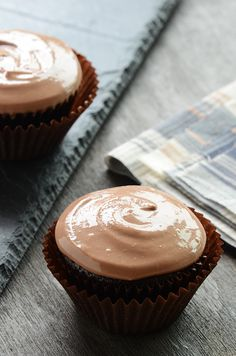 Chocolate Cupcakes for Two {Vegan} #recipe. Good recipe to have for class parties or holidays when you don't need to bake a whole batch of cupcakes.