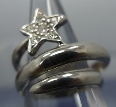 RING sz 6 sterling 925 silver STAR w/ SPINEL CHIPS BYPASS signed MC for MARSALA