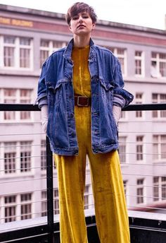 Take your velvet look full throttle with a belted jumpsuit in a funky acid-yellow. Tone it down for day with an oversized denim jacket and black boots or with glittery platforms for party perfection. Too good