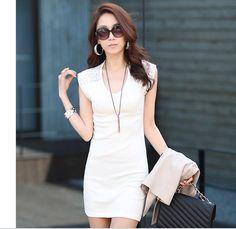 Slim Sleeveless Hollow Out Lace Fashion Dress White $6.37