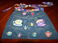 TEA FOR TWO JEAN APRON   Damsel Quilts & Crafts  another for recycling old blue jeans
