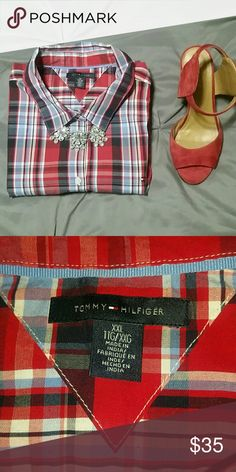 Tommy Hilfiger adorable plaid shirt Red, white and blue plaid shirt from Tommy Hilfiger. Long sleeve with cuffs. Women's size XXL, but I would say closer to an XL. Never worn. (Necklace not included) Tommy Hilfiger Tops Button Down Shirts