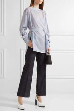 Calvin Klein Collection | Striped satin-twill top | NET-A-PORTER.COM