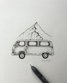Detail shot from Wednesday's post.  #art #illustration #vw #mountain by samlarson