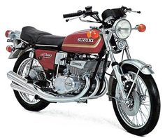 SUZUKI GT380M red 1975 Engine type: Air-cooled 371 cc inline-3 / 2-stroke / 38 hp/ 7,500 rpm,