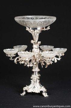 Canonbury - Victorian Silver Plate Cherub Centrepiece Epergne Dish Stand - Art on table silver Vintage Silver, Antique Silver, Cut Glass, Glass Art, Vintage Antiques, Vintage Items, Centre Pieces, Antique Glass, Cherub