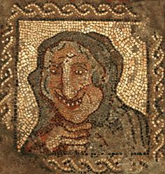 Roman Mosaic. Old Woman. Barcelona, Spain.