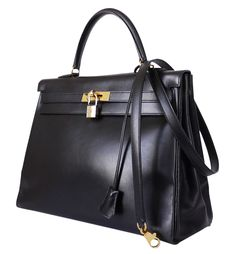 Hermes Box Calf Kelly Bag 35 Black Vintage Gold Hw - Hermes Box calf kelly bag with gold hardware. Vintage kelly 35cm from 1998. The Kelly bag is a status symbol and has appeared in popular culture. Inside stitch, gorgeous vintage kelly bag.       - Color : Black     - Hardware : Gold     - Blind stamp : Square and B     - Comes with : Detachable shoulder strap, Dust bag, Keys, Lock and key bell     - Stitch : Inside  Condition : Excellent used condition. There are some slight ...