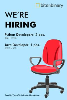 Hi! We're urgently hiring Python and Java Developers for Ahmedabad location. Interested candidates can send their updated resumes to hr@bitsnbinary.com Java, Ahmedabad, Python, Posts, Home Decor, Messages, Decoration Home, Room Decor, Interior Design
