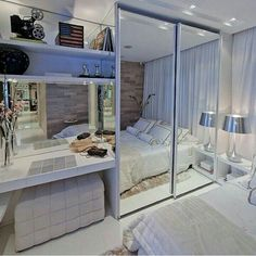 Bedroom storage ideas for small spaces diy half baths 28 Super Ideas Small Rooms, Small Spaces, Home Bedroom, Bedroom Decor, Bedrooms, Mirror Bedroom, Decor Room, Master Bedroom, Appartement Design