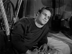 """Marlon Brando .gif from """"The Men."""" His acting is unbelievably subtle-- and this was his first film! His skill is especially powerful in scenes where his character is trying to feign anger or indifference but failing in one very small way. -R"""
