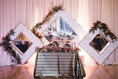 Hindu and Sikh Ceremonies + Formal Reception in Orange County - Inside Weddings Wedding Table, Wedding Reception, Wedding Ideas, Large Framed Mirrors, Sikh Wedding, Sweetheart Table, Photography Backdrops, Orange County, Bride
