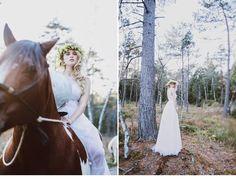 Natürliches Wald-Brautshooting mit Pferden von nice4youreyes