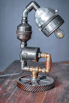 Lamp table Bedside reading Steampunk lamps Industrial table